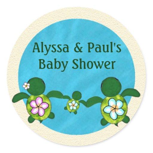 boy sea turtle baby shower honu 02b blank 02 round stickers