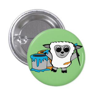 Boy Sheep Painting Button