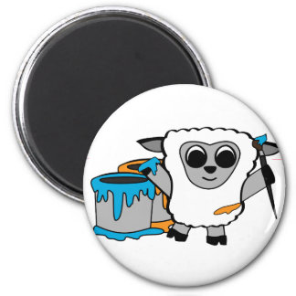 Boy Sheep Painting Fun 6 Cm Round Magnet