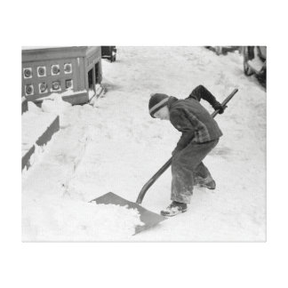Boy Shovelling Snow, 1940 Stretched Canvas Print