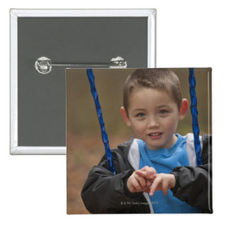 Boy signing the word 'Swing' in American Sign 15 Cm Square Badge