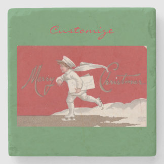 Boy Skating Vintage Thunder_Cove Christmas Stone Coaster