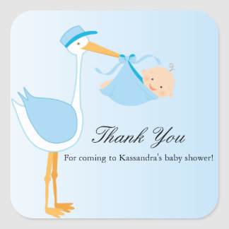 Boy Special Delivery Stork Baby Shower Sticker