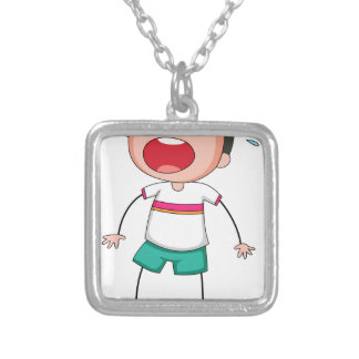 Boy standing alone crying square pendant necklace
