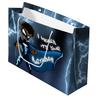 Boy Super Hero Birthday Gift Bag - Large, Glossy
