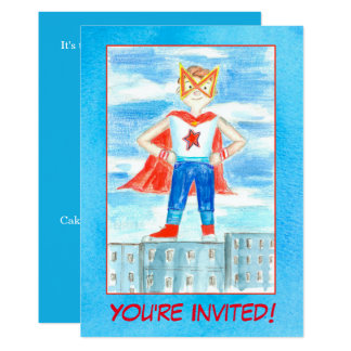 Boy Super Hero Birthday Party Invitation