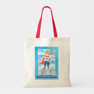 Boy Superhero Custom Name Tote Bag