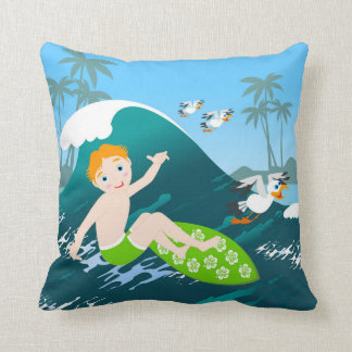 Boy surfing big wave and seagulls throw pillow
