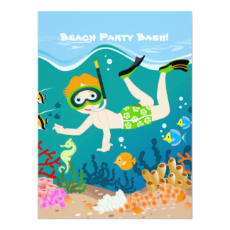 Boy swimming and diving with tropical fish 17 cm x 22 cm invitation card