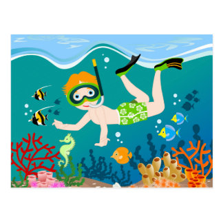 Boy swimming and diving with tropical fish postcard
