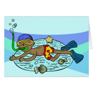 Boy Swimming With Fish Card
