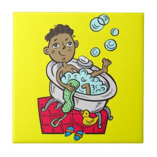 Boy Taking Bath Tile