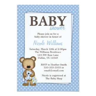 "Boy Teddy Bear Baby Shower Blue Dots Invitation 5"" X 7"" Invitation Card"