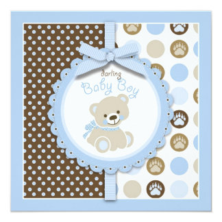 Boy Teddy Bear Baby Shower Invitation Square