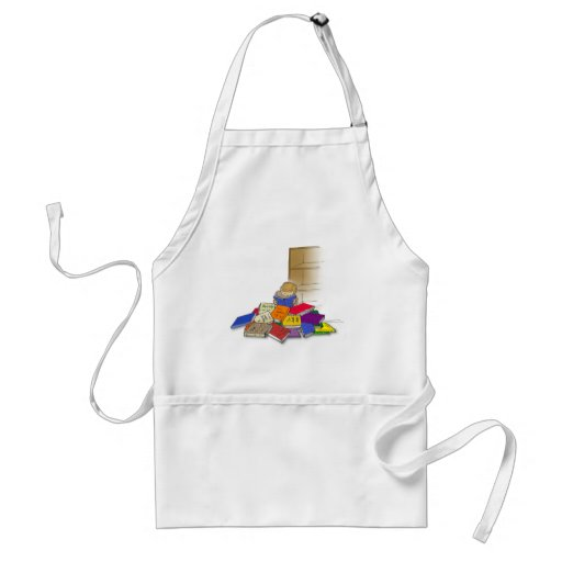 Boy toddler surrounded by books. apron