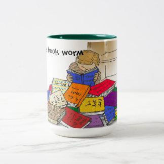 Boy toddler surrounded by books. Two-Tone mug
