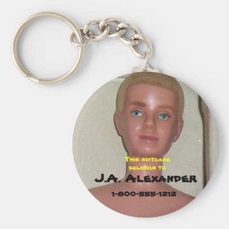 Boy Toy Bag Tag Basic Round Button Key Ring