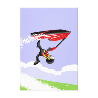 Boy turning in the air in its jet ski canvas print