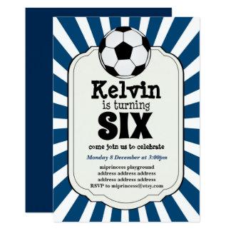 boy turning SIX Soccer Ball  Invitation