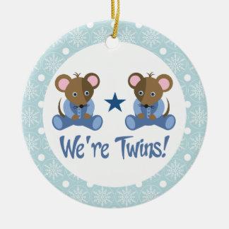 Boy Twins Baby Mice Keepsake Ornament Gift