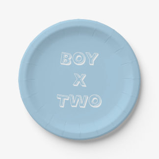 Boy Twins Baby Shower Powder Blue Paper Plate