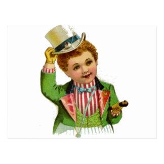Boy Uncle Sam July 4th Vintage Postcard Art