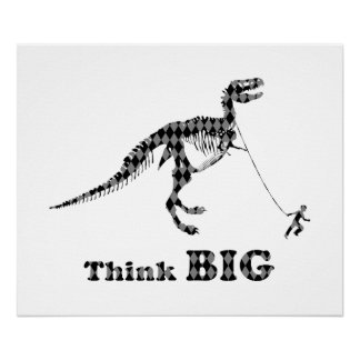 Boy Walking A Tyrannosaurus Rex ~ Think Big Poster