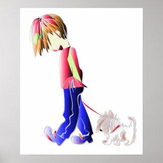 Boy walking cute dog digital art Poster