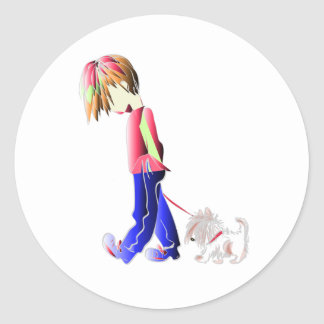 Boy walking cute dog digital art round sticker
