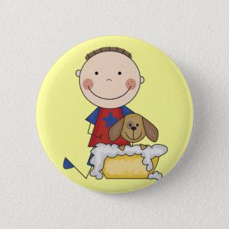 Boy Washing Dog Tshirts and Gifts 6 Cm Round Badge