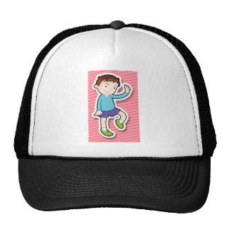 Boy waving cap