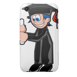 Boy wearing a graduation gown iPhone 3 cases