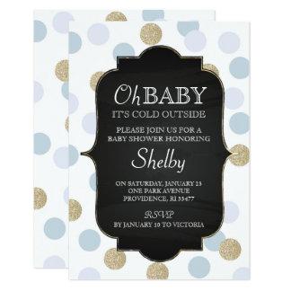 Boy Winter Baby Shower Invitation, Blue Card