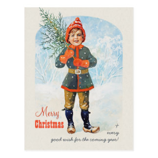 Boy with a Christmas tree CC0935 Jenny Nyström Postcard