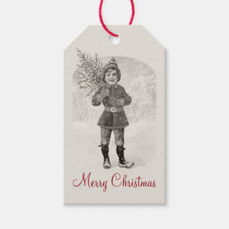 Boy with a Christmas tree CC0936 Jenny Nyström Gift Tags