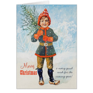 Boy with a Christmas tree Jenny Nyström CC0937 Card