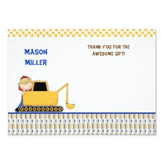 Boy with Bulldozer Thank you note Card