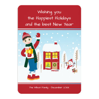 Boy with Christmas Present Card