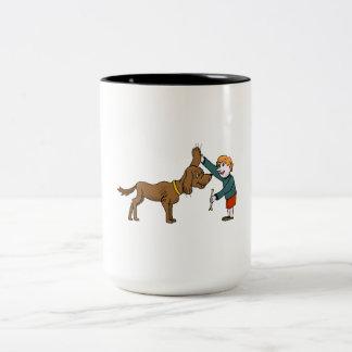 Boy With Dog Coffee Mugs