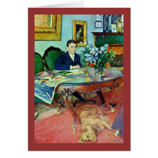Boy with Dog Under Table Greeting Card