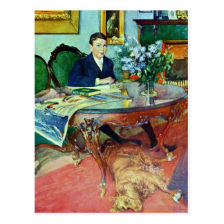 Boy with Dog Under Table Postcard