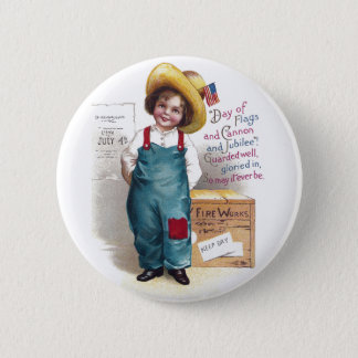 Boy With Fireworks for the Fourth 6 Cm Round Badge