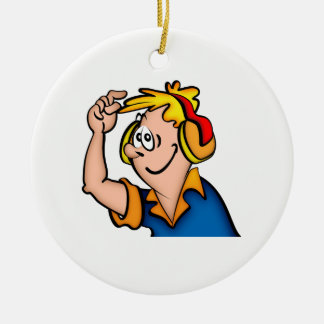 Boy With Headphone Ceramic Ornament