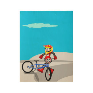 Boy with its bicycle BMX in the sport place Wood Poster
