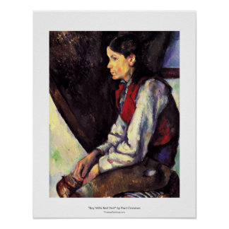 Boy with red vest Paul Cezanne painting art Poster