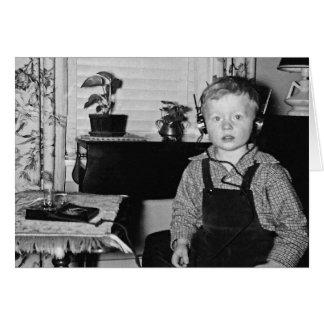 Boy With Retro Crystal Radio Set Humorous Card