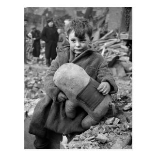 Boy with Stuffed Animal, 1945 Postcard