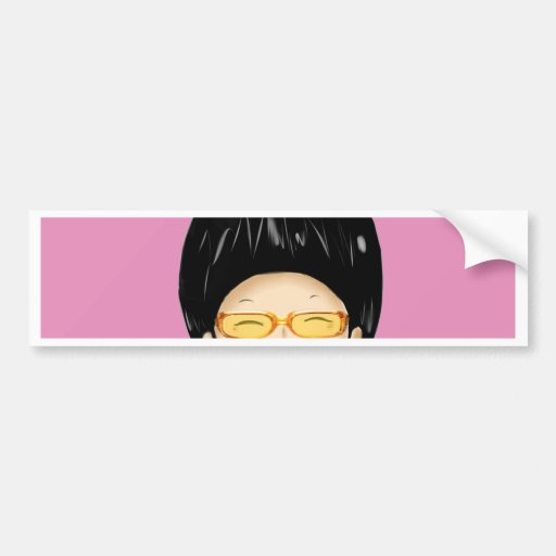 Boy with sunglass bumper stickers