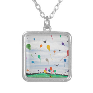 Boy with the balloons silver plated necklace