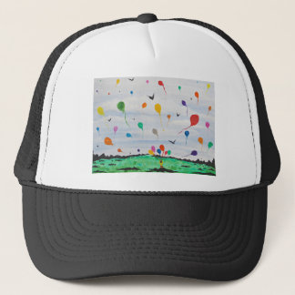 Boy with the balloons trucker hat